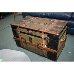 Antique oak bound steamer trunk with leather straps and removable tray