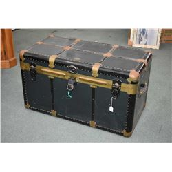 Antique metal steamer trunk by Langmuir with removable tray