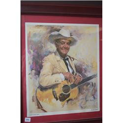 Signed limited edition Harley Brown portrait painting print of Wilf Carter signed by both the artist