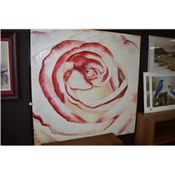 "Framed artist signed acrylic on canvas painting of a rose, 45"" X 45"""