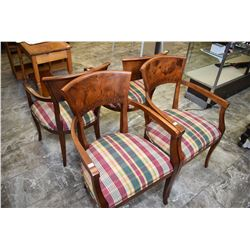 Set of four Italian made open arm dining chairs with upholstered seats