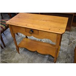 Primitive upper Canadian single drawer washstand with under shelf