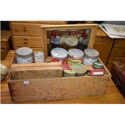 Wooden box containing a large selection of tobacco tins, wooden candle molds, bar mirror etc.