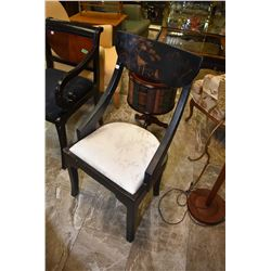 Modern Chinoserie style papier mache finish side chair with hand painted back panel and upholstered