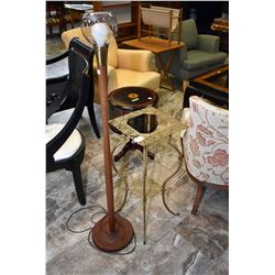 Mid century modern floor lamp and a cast two tier stand missing center panel
