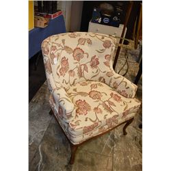 Jacobean style upholstered parlour chair with show wood