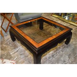 "Oriental motif 39"" square coffee table with bevelled glass top"