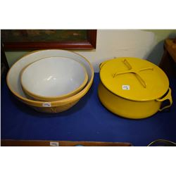 Heavy quality yellow enamelled lidded pot made by Dansk, two T.G. Green & Co. pottery mixing bowls p