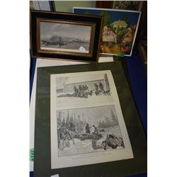 Selection of framed and unframed prints including 1890 Illustrated News of the World, an etching of