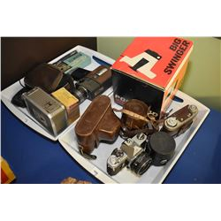 Selection of vintage 35 mm cameras, movie camera, accessories etc.