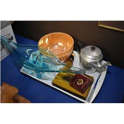 Selection of collectibles including two Fireking mixing bowls, 1970's blue art glass bowl, aluminium