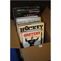 """Selection of hard and soft cover sports books including """"Gretzky, an Autobiography"""", """"The Hockey Enc"""