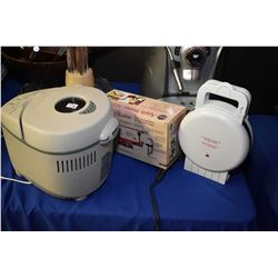 """Sunbeam Belgian waffle maker, new in box """"Apple Master' paring, coring and slicing machine and a Wes"""