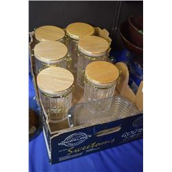 Six piece canister set with wooden flip lids