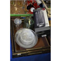 """Two drinks trays, two lidded canisters and a new in box """"lead free crystal"""" glass cylinder vase"""