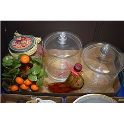 Selection of modern glass decor items including two large lidded canisters, glass shoe with peppers,