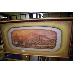 """Framed limited edition print """"Superstition Stage"""" pencil signed by artist Purcell, 12/75"""