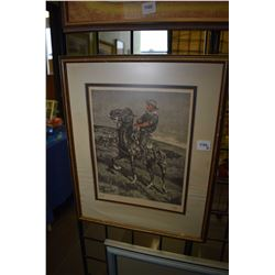 """Two framed prints including a Fredric Remington, and a sleeping hunter with his dog """"An Autumn Dream"""