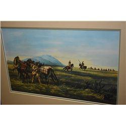 Framed western themed print