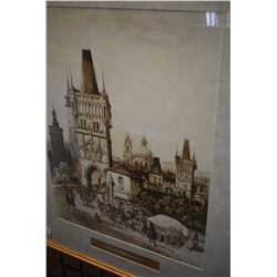 Framed print of the Elizabethan era town scene