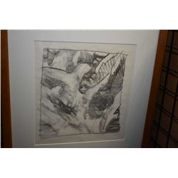 """Framed abstract pencil drawing, no artist signature seen, 15"""" X 19"""""""