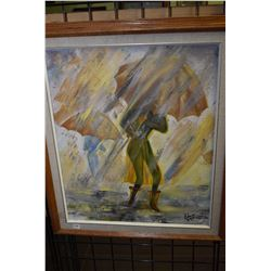 """Original oil on canvas painting of women in the rain signed by artist Edna (Hanson) 7/87, 24"""" X 20"""""""