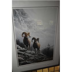 """Framed limited edition print titled """"Rocky Mountain Big Horn"""" pencil signed by artist Marla Wilson,"""