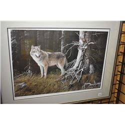 """Framed limited edition print titled """"Timber Wolf"""" pencil signed by artist Marla Wilson, 101/495"""