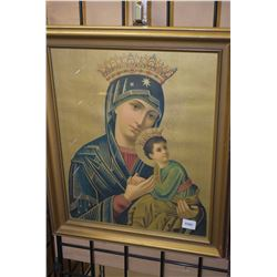 Gilt framed religious themed print of Madonna and child