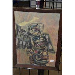 """Framed original pastel on paper drawing of a totem pole initialled by artist, 17"""" X 12"""""""