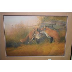 Framed limited edition print of two red foxes, pencil signed by artist T. Sawdell, 354/750