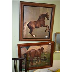 Three framed horse motif pictures including two originals and one print