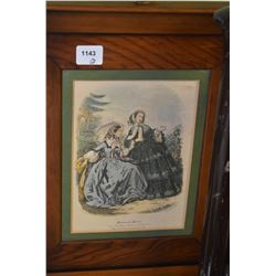 """Two similar themed, matching framed bas relief pictures including """"Miroir des Mods"""" etc."""