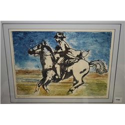 Framed print of a horse and rider