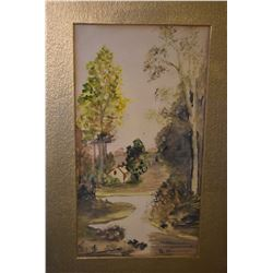 """Framed original watercolour painting of a wooden clearing and cottage, initialled by artist B.M, 9"""""""