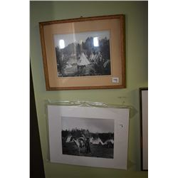 Three framed and one unframed pictures, all western themed