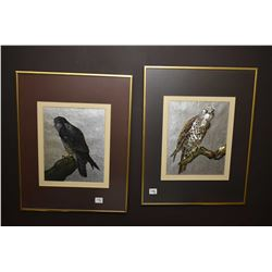 Pair of silver foil birds, both owls