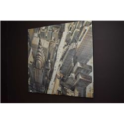 Stretcher framed decor print of a cityscape featuring the Chrysler building