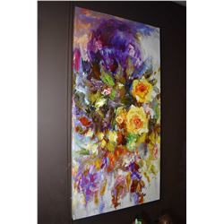Stretcher framed picture of abstract roses