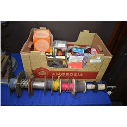 Selection of shop parts and supplies including wire, light bulbs, marker lights etc.