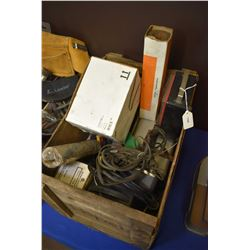Wooden Pepsi box containing assorted tools including air conditioning fittings, multi meter, tach. d