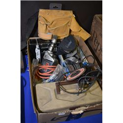 Box of tools including tool belt, paint stripper, electric drill, grinding discs, rope pulley etc.
