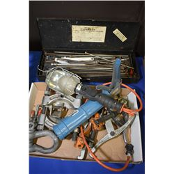 Selection of threaded rods, caulking gun, trouble light, pulleys etc.