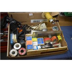 Two boxes of shop supplies including wirings, solder and soldering guns, thread tape, light bulbs et