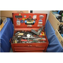 "Mechanics tool box containing a selection of sockets, pliers, screwdrivers, 1/2"" drive torque wrench"