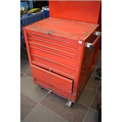 Mechanics roll cabinet containing drills, wrenches, punches, pliers, air tools, torque wrench, taps