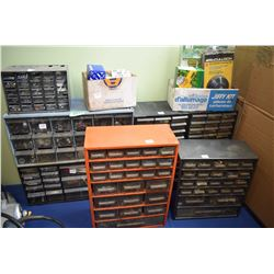 Selection of workshop organizers containing hardware, light bulbs, shrink tube, drill bits, Allen wr