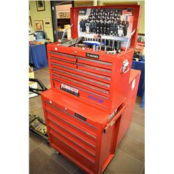 Husky brand mechanics roll box and top box containing a large selection of tools including Mac 1/2""