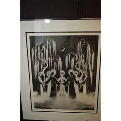 Framed limited edition print of a prayer circle pencil signed by artist 41/80