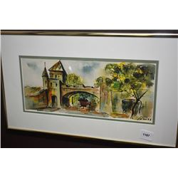 "Small framed original watercolour painting of a village entrance, artist signed 5"" X 11"""